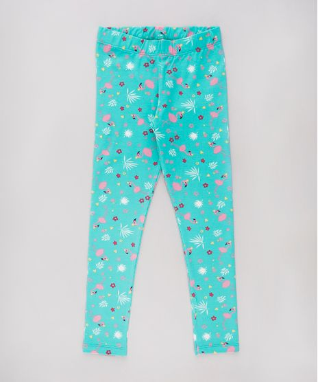 Calca-Legging-Infantil-Estampada-de-Flamingo-Verde-9738480-Verde_1