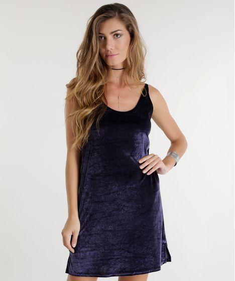 Vestido de veludo azul escuro