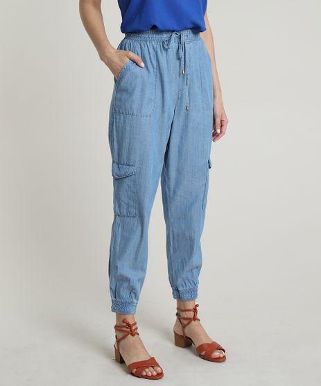 Calca-Jeans-Feminina-Jogger-Cargo-Cintura-Alta-com-Amarracao-Azul-Claro-9722126-Azul_Claro_1