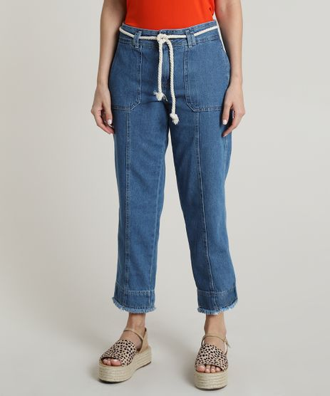 Calca-Jeans-Feminina-Reta-Cropped-Cintura-Alta-com-Cordao-Azul-Medio-9753909-Azul_Medio_1