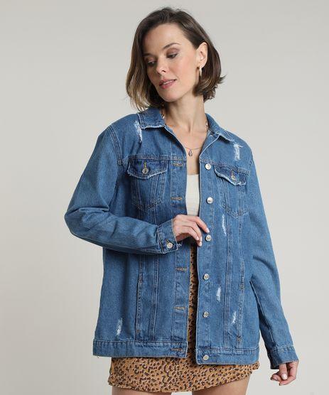 Jaqueta-Jeans-Feminina-Longa-com-Rasgos-e-Bolsos-Azul-Medio-9805760-Azul_Medio_1