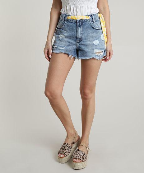Short-Jeans-Feminino-Boy-Destroyed-com-Barra-Desfiada-e-Cinto-Faixa-Azul-Medio-9750191-Azul_Medio_1