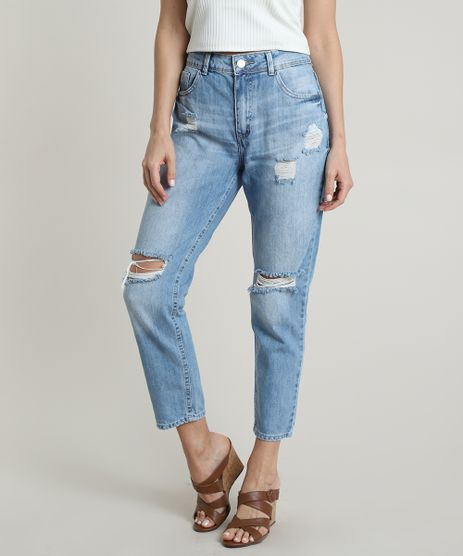Calca-Jeans-Feminina-Boyfriend-Cintura-Media-Destroyed-com-Bolsos-Azul-Claro-9750186-Azul_Claro_1
