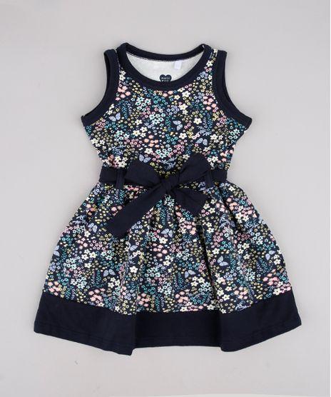 Vestido-Infantil-Estampado-Floral-com-Laco-Sem-Manga-Azul-Marinho-9804486-Azul_Marinho_1