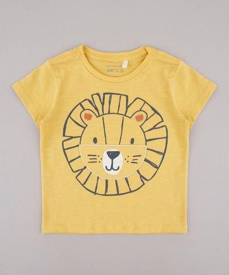 Camiseta-Infantil-Estampa-Interativa-de-Leao-Manga-Curta-Mostarda-9733619-Mostarda_1