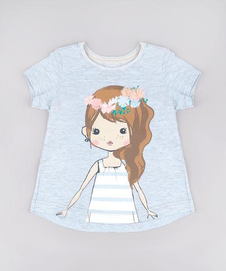 Blusa-Infantil-Listrada-Menina-com-Flor-Manga-Curta-Cinza-Mescla-Claro-9762526-Cinza_Mescla_Claro_1