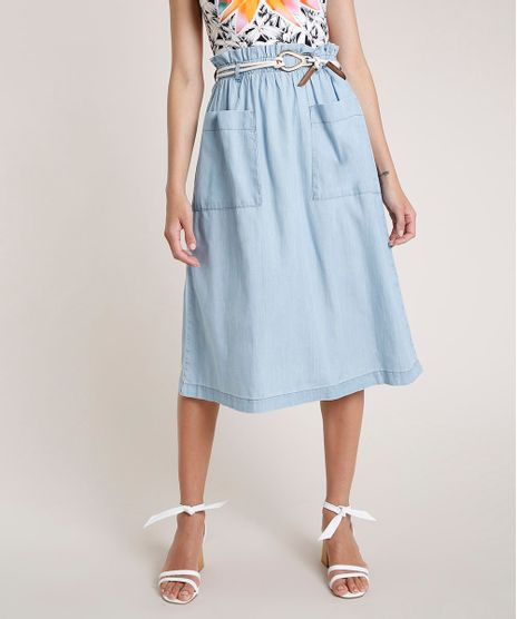 Saia-Jeans-Feminina-Agua-de-Coco-Midi-Clochard-com-Cinto-Azul-Claro-9809276-Azul_Claro_1