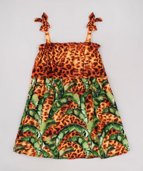 Vestido-Infantil-Agua-de-Coco-Tal-Mae-Tal-Filha-Bananeira-Animal-Print-Onca-Alcas-Finas-Caramelo-9780811-Caramelo_1