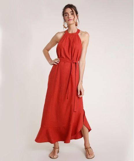 Vestido-Feminino-Agua-de-Coco-Longo-Frente-Unica-com-Linho-Bordado-de-Coqueiros-Cobre-9677874-Cobre_1
