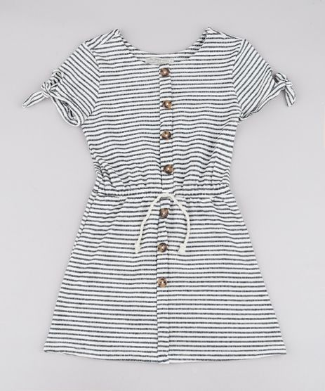 Vestido-Infantil-em-Moletom-Listrado-com-Laco-Manga-Curta-Off-White-9748635-Off_White_1
