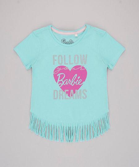 Blusa-Infantil-Barbie--Follow-your-Dreams--com-Franjas-Manga-Curta-Verde-Claro-9757212-Verde_Claro_1