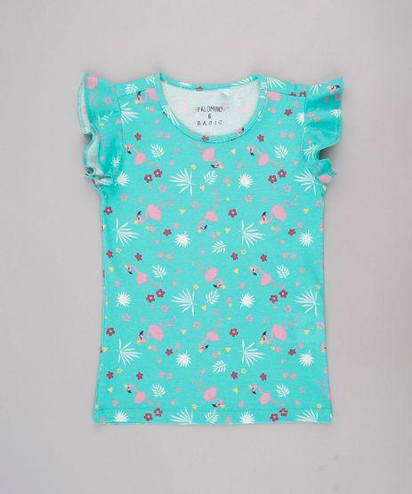 Blusa-Infantil-Basica-Estampada-de-Flamingos-Manga-Curta-Verde-9756286-Verde_1