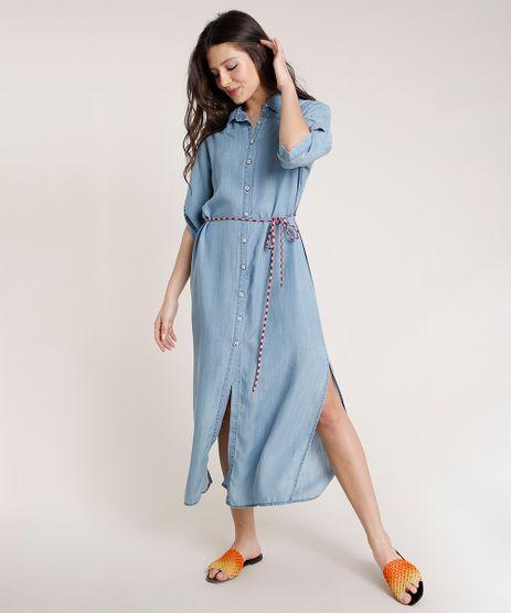 Vestido-Chemise-Jeans-Feminino-Triya-Longo-com-Cadarco-Manga-3-4-Azul-Claro-9809266-Azul_Claro_1