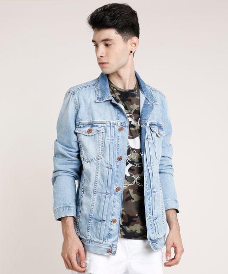Jaqueta-Jeans-Masculina-Trucker-com-Bolsos-Azul-Claro-9532785-Azul_Claro_1