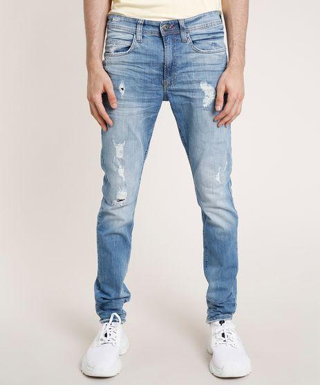 Calca-Jeans-Masculina-Skinny-com-Rasgos-Azul-Medio-9765976-Azul_Medio_1