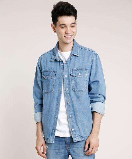Camisa-Jeans-Masculina-Comfort-com-Bolsos-Manga-Longa-Azul-Medio-9773894-Azul_Medio_1