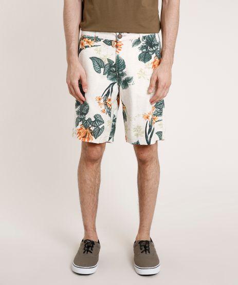 Bermuda-Masculina-Estampada-Floral-com-Linho-Bege-Claro-9769819-Bege_Claro_1