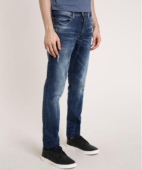 Calca-Jeans-Masculina-Slim-com-Puidos-Azul-Escuro-9764305-Azul_Escuro_1