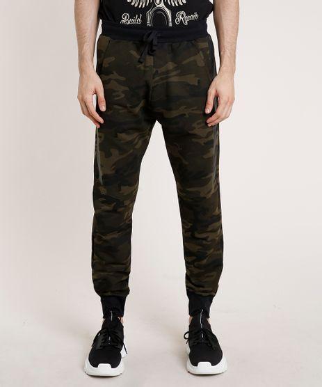 Calca-Masculina-Relaxed-Estampada-Camuflada-em-Moletom-com-Bolsos-Verde-Militar-9807603-Verde_Militar_1