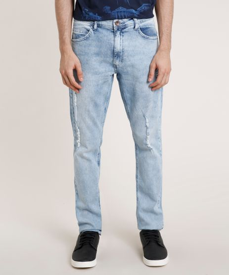 Calca-Jeans-Masculina-Slim-com-Puidos-Azul-Claro-9763745-Azul_Claro_1