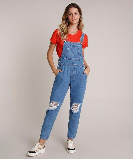 Macacao-Jeans-Feminino-Destroyed-com-Bolsos-Azul-Medio-9758584-Azul_Medio_1