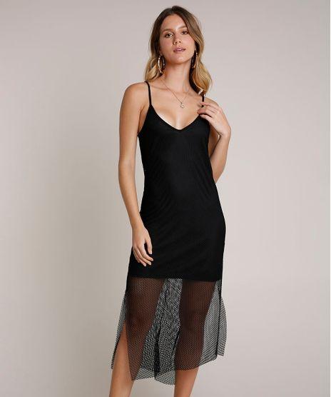 Vestido-Feminino-Midi-em-Tela-com-Fenda-Alcas-Finas-Preto-9795587-Preto_1