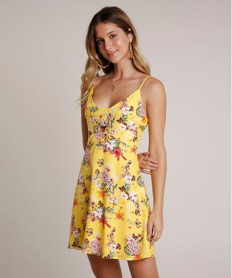 Vestido-Feminino-Curto-Estampado-Floral-com-Vazado-Alcas-Finas-Amarelo-9630047-Amarelo_1