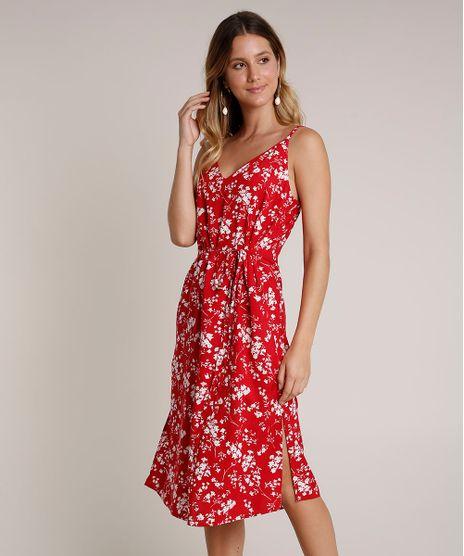 Vestido-Feminino-Midi-Estampado-Floral-com-Fenda-Alcas-Finas-Vermelho-9670502-Vermelho_1