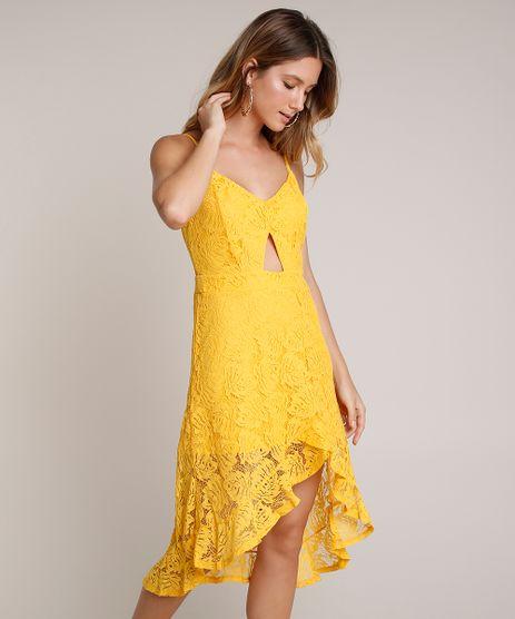 Vestido-Feminino-em-Renda-Midi-Mullet-com-Babado-Alcas-Finas-Amarelo-9622999-Amarelo_1