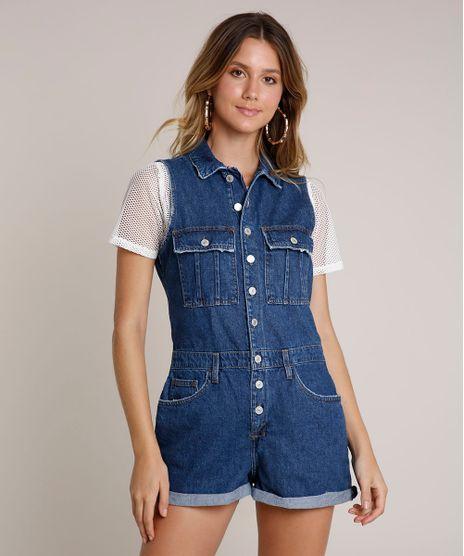 Macaquinho-Jeans-Feminino-com-Puidos-e-Botoes-Sem-Manga-Azul-Escuro-9750178-Azul_Escuro_1