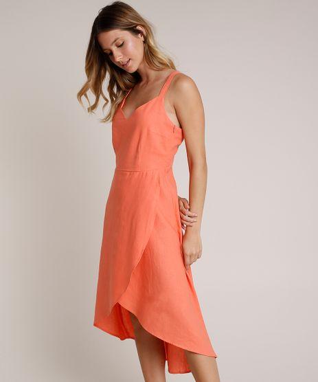 Vestido-Feminino-Midi-em-Linho-com-Transpasse-e-Vazado-Alcas-Medias-Coral-9640596-Coral_1