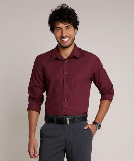 Camisa-Masculina-Comfort-com-Bolso-Manga-Longa-Vinho-9627865-Vinho_1