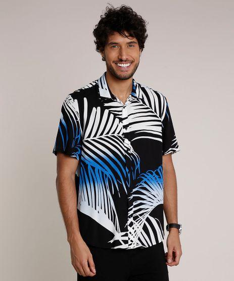 Camisa-Masculina-Relaxed-Estampada-de-Folhagem-Manga-Curta-Preta-9657168-Preto_1