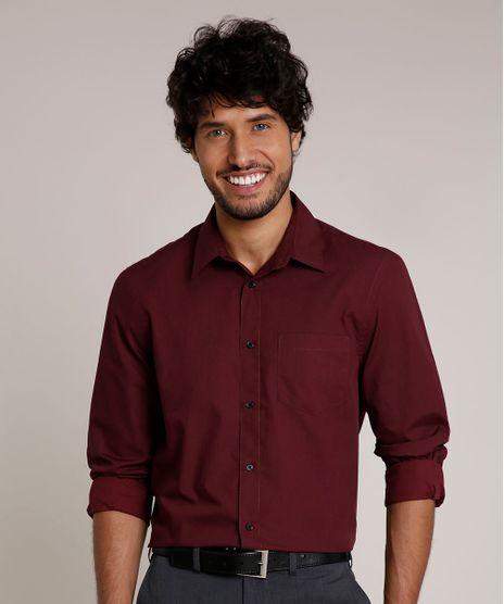 Camisa-Masculina-Comfort-com-Bolso-Manga-Longa-Vinho-9627863-Vinho_1