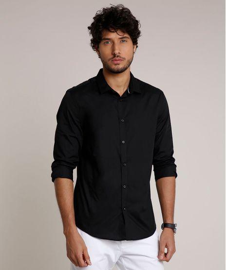 Camisa-Masculina-Slim-com-Vivo-Contrastante-Manga-Longa-Preta-9657163-Preto_1