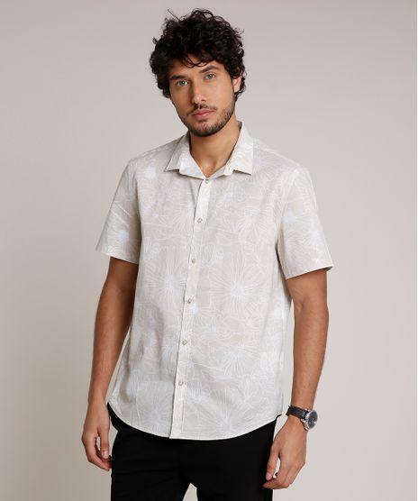 Camisa-Masculina-Relaxed-Estampada-Floral-Manga-Curta-Kaki-Claro-9657165-Kaki_Claro_1