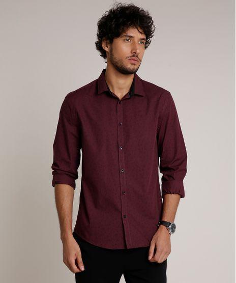 Camisa-Masculina-Slim-Estampada-Manga-Longa-Vinho-9626899-Vinho_1
