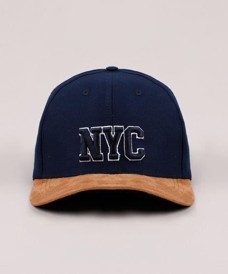Bone-Masculino-Aba-Curva-com-Suede-e-Bordado--NYC--Azul-Marinho-9769589-Azul_Marinho_1