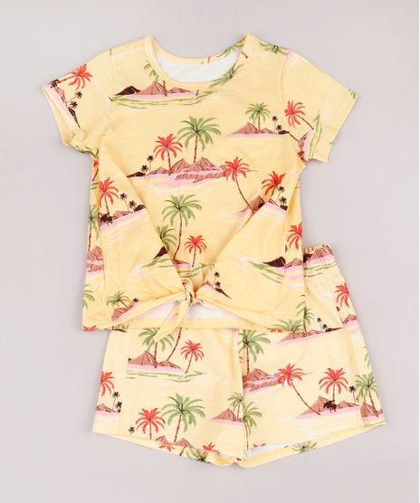 Conjunto-Infantil-de-Blusa-Estampada-de-Ilhas-Manga-Curta---Short-Amarelo-9762700-Amarelo_1