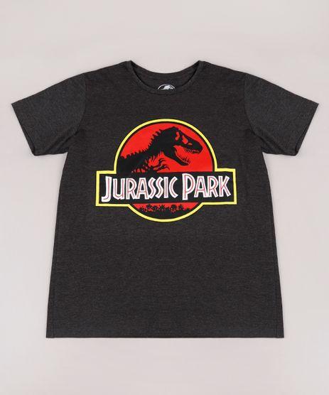 Camiseta-Infantil-Jurassic-Park-Manga-Curta-Cinza-Mescla-Escuro-9710562-Cinza_Mescla_Escuro_1