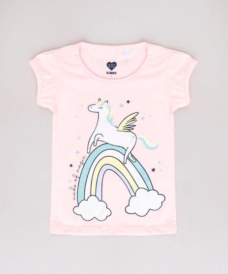 Blusa-Infantil-Unicornio-com-Glitter-Manga-Curta-Rosa-Claro-9742282-Rosa_Claro_1