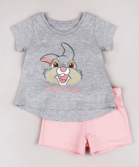 Conjunto-Infantil-Tambor-Bambi-de-Blusa-Manga-Curta-Cinza-Mescla----Short-em-Moletom-Rosa-9742281-Rosa_1