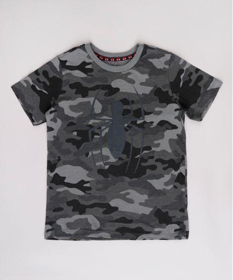 Camiseta-Infantil-Homem-Aranha-Estampada-Camuflada-Manga-Curta--Chumbo-9814685-Chumbo_1