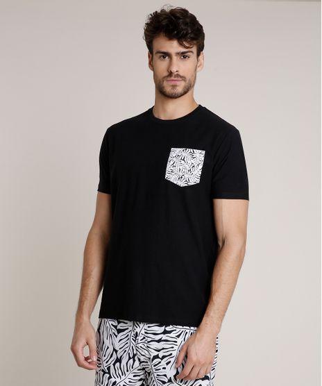 Camiseta-Masculina-Tryia-com-Bolso-Estampado-de-Folhagem-Manga-Curta-Gola-Careca-Preta-9735391-Preto_1