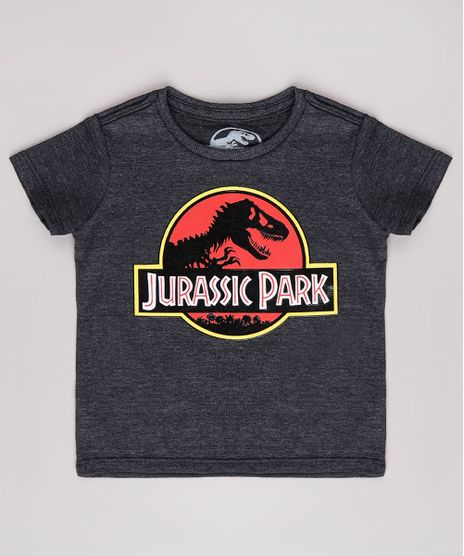 Camiseta-Infantil-Jurassic-Park-Manga-Curta--Cinza-Mescla-Escuro-9618715-Cinza_Mescla_Escuro_1