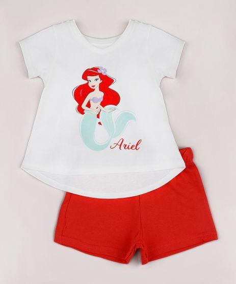 Conjunto-Infantil-Pequena-Sereia-Ariel-de-Blusa-Manga-Curta-Off-White---Short-em-Moletom-Vermelho-9742279-Vermelho_1