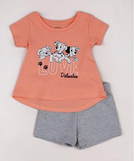 Conjunto-Infantil-Dalmatas-de-Blusa-Manga-Curta-Coral---Short-em-Moletom-Coral-9742285-Coral_1