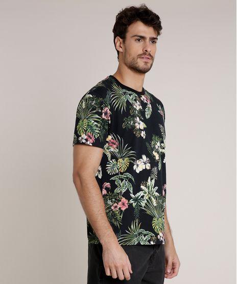 Camiseta-Masculina-Blueman-Estampada-de-Folhagem-Tropical-Manga-Curta-Gola-Careca-Preto-9702026-Preto_1