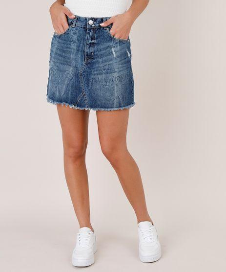 Saia-Jeans-Feminina-Curta-com-Recorte-e-Puidos-Barra-Desfiada-Azul-Escuro-9751071-Azul_Escuro_1