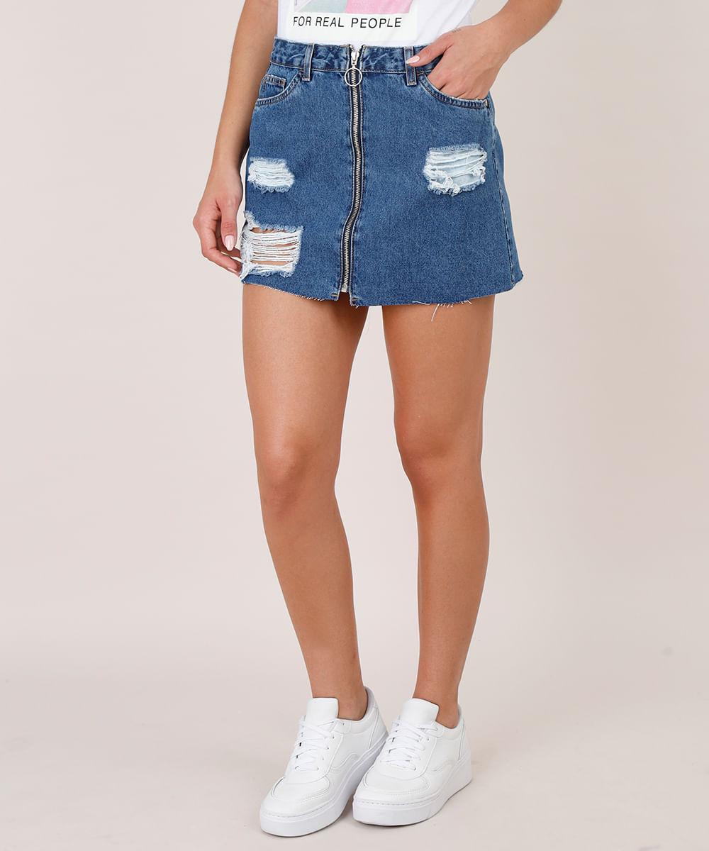 Saia Jeans Feminina Curta Destroyed com Zíper de Argola Azul Escuro
